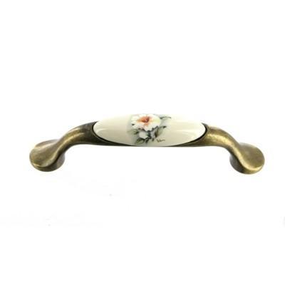 Мебельная ручка-скоба GUISTI керамика L-96 мм., бронза античная + мальва