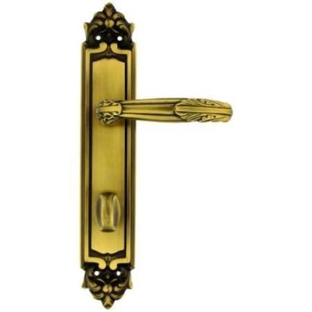 Дверная ручка BARCO на длинной планке, модель ROMA, бронза, с фиксатором